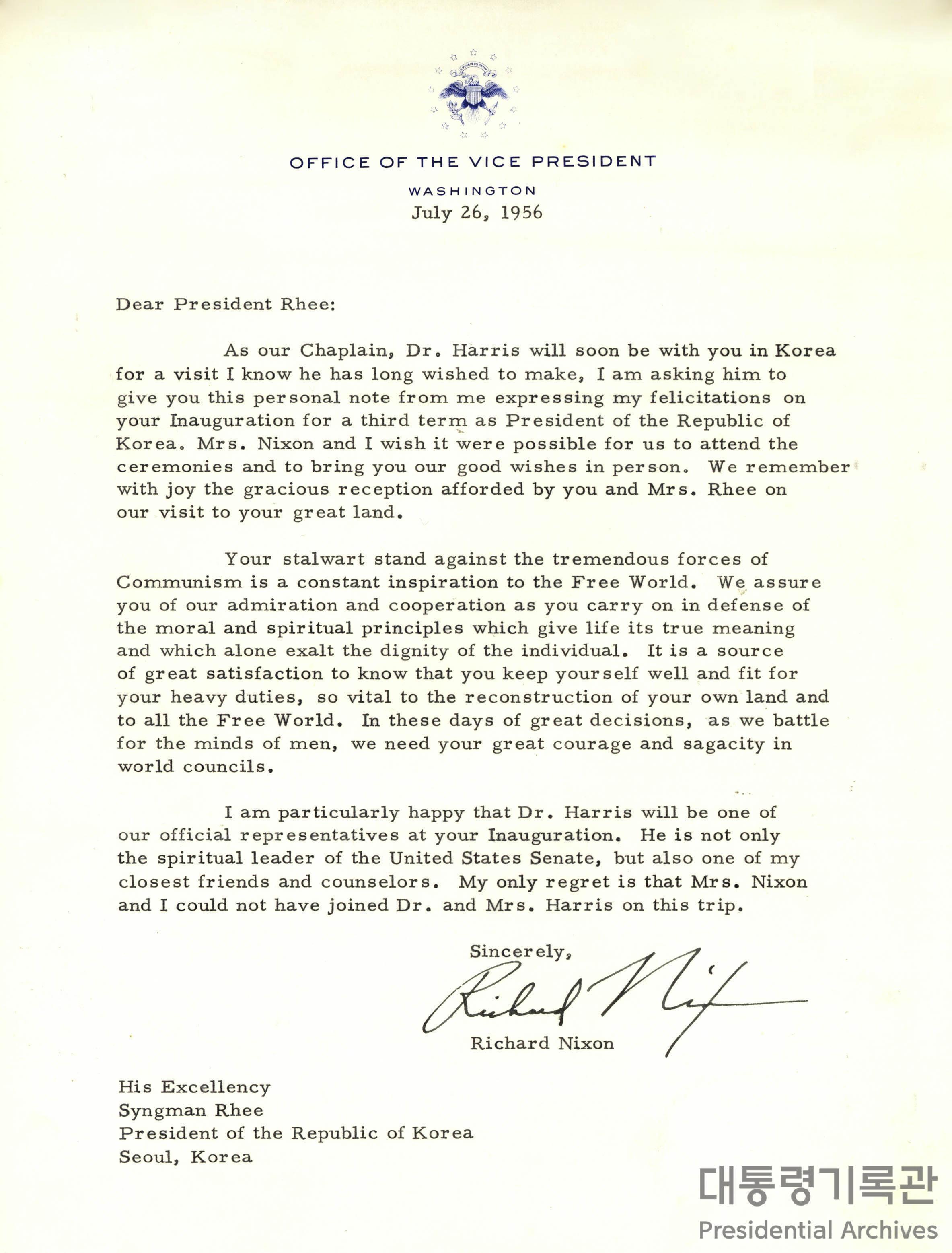 리차드 닉슨(Richard Nixon)이 이승만 대통령에게 보낸 3선 취임축하 서한