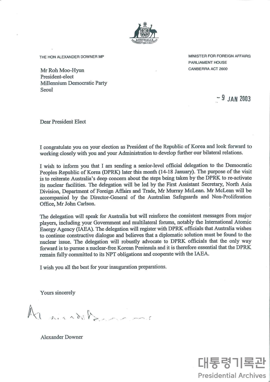 알렉산더 다우너(Alexander Downer) 호주 외무부장관이 보낸 취임축하 친서