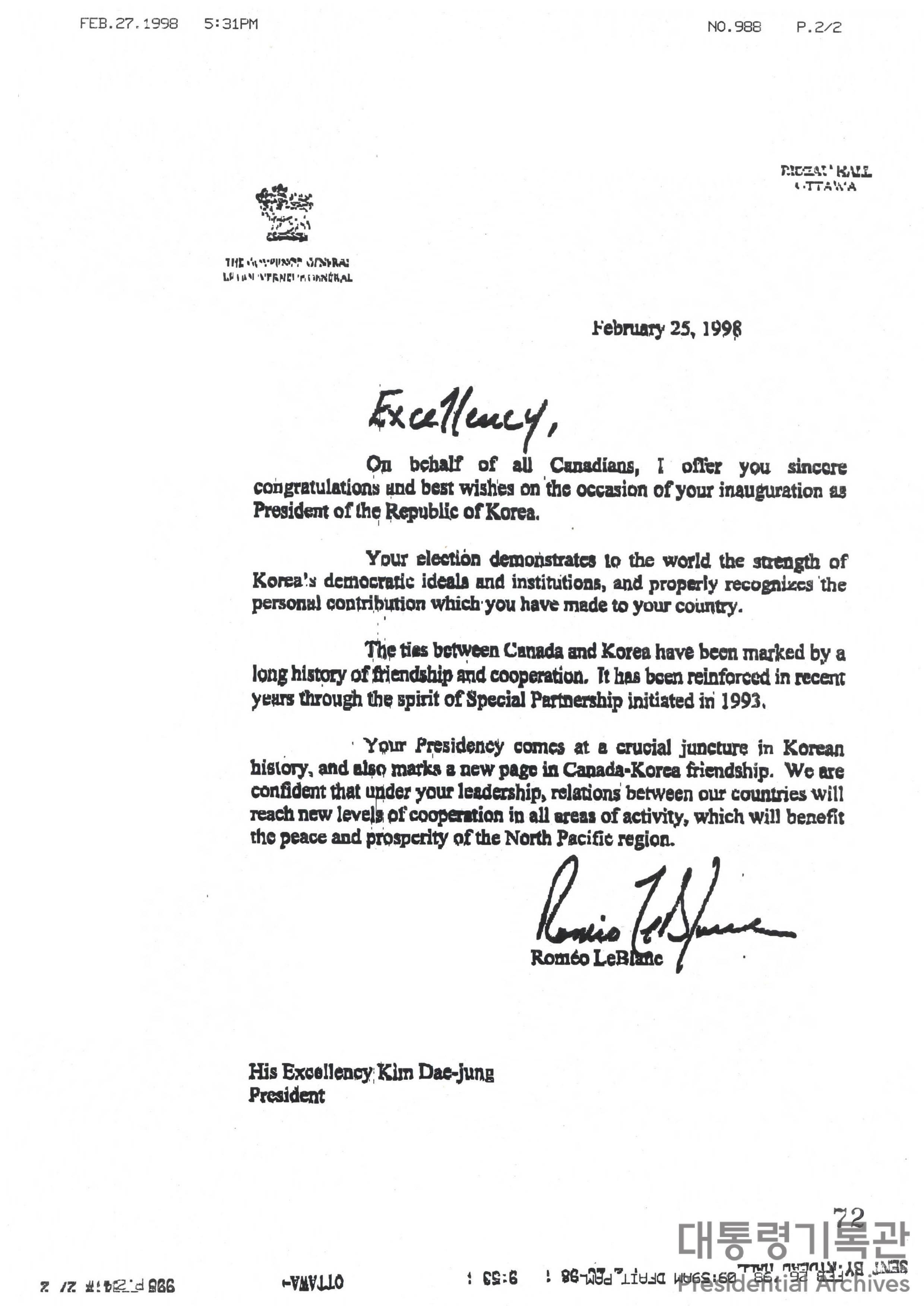 로미오 레블랑(Romeo LeBlanc) 캐나다 총독의 취임축하 서한