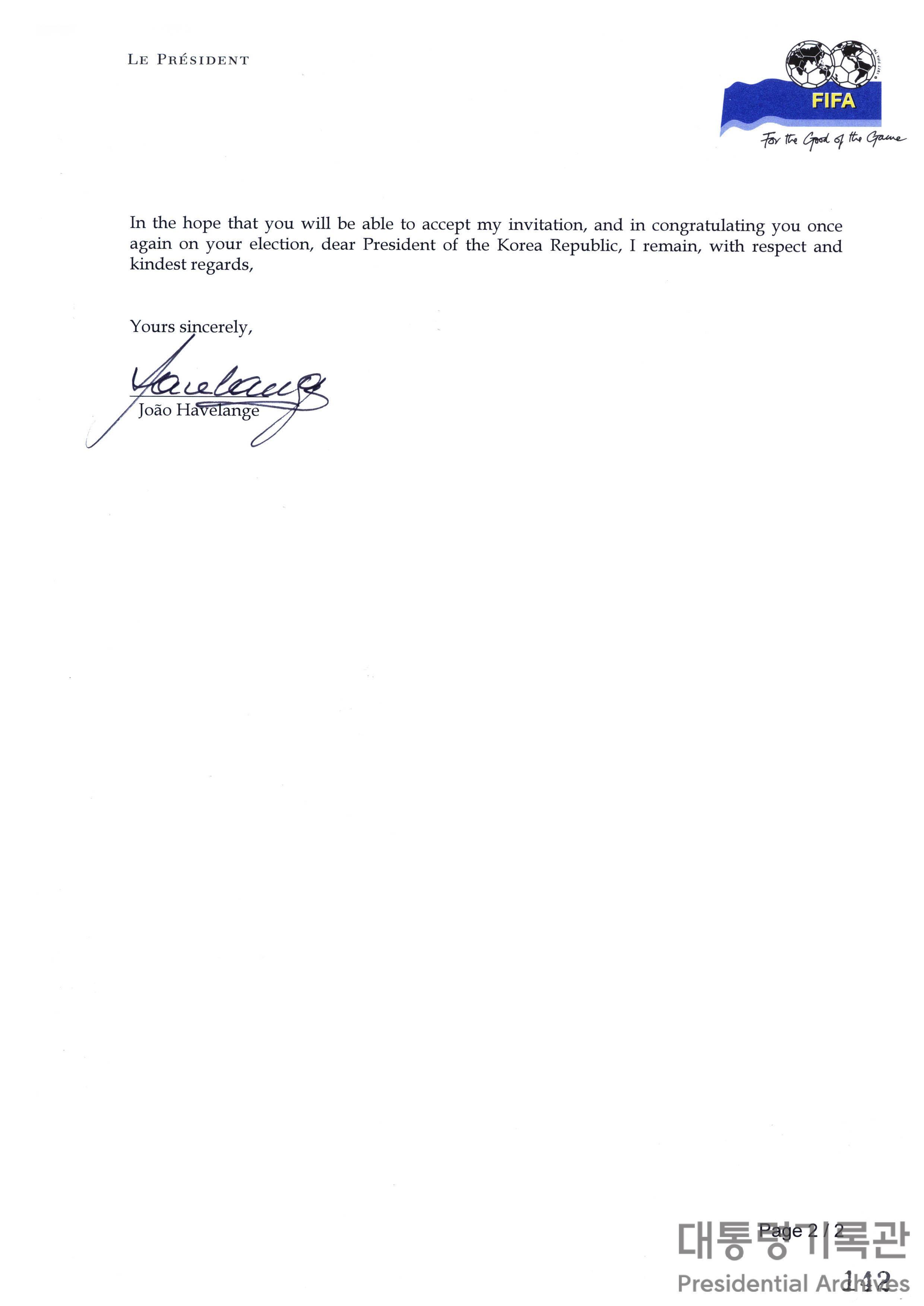 주앙 아벨랑제(Joao Havelange) FIFA 회장의 취임축하 및 프랑스 월드컵 개막식 초청 서한