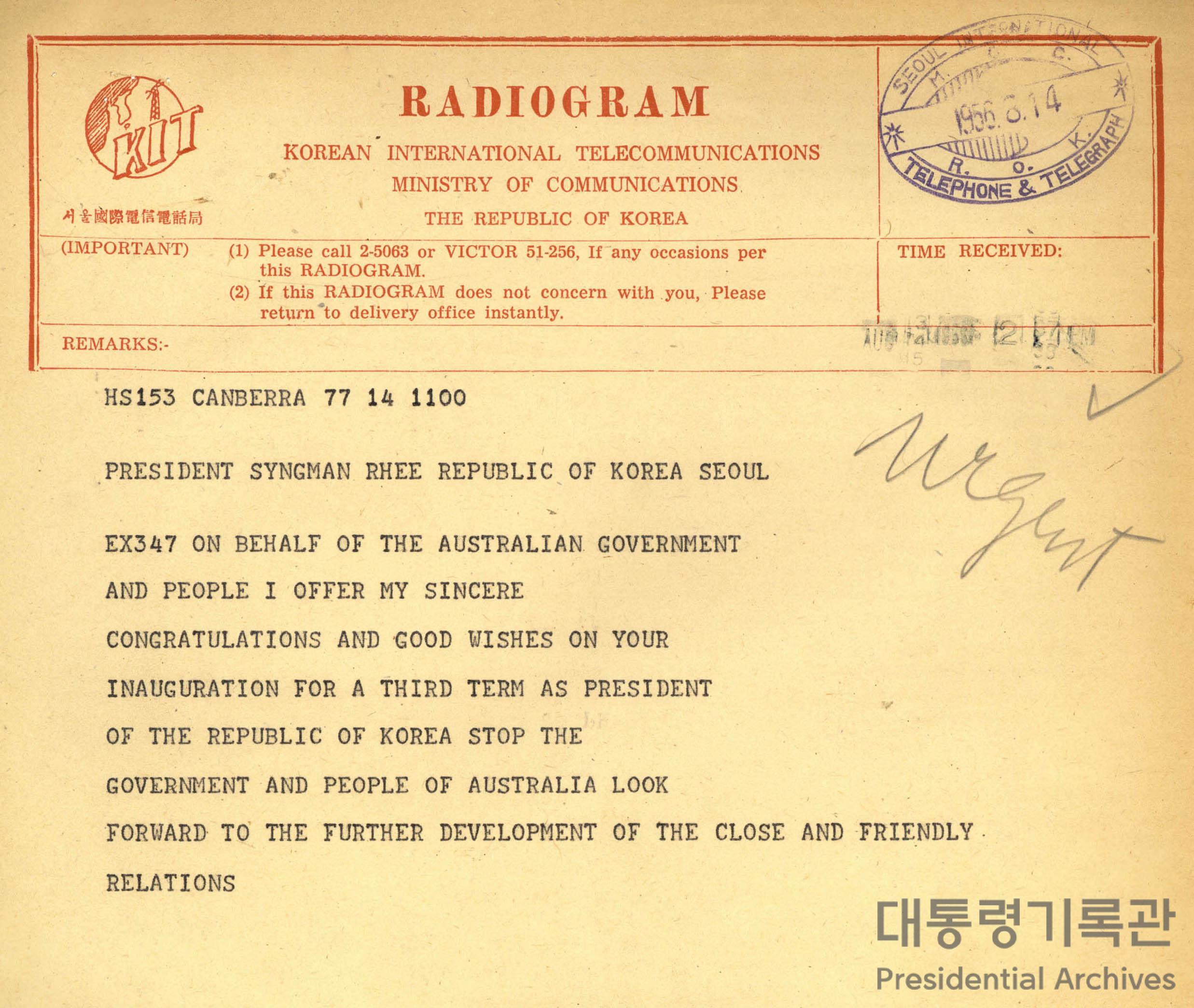 페든(A. W. Fadden)이 이승만 대통령에게 보낸 3선 취임축하 무선전보