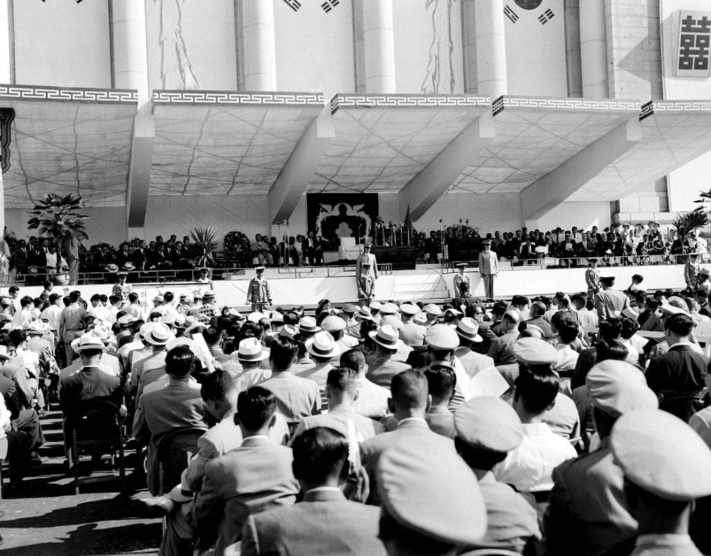 제3대 이승만 대통령 취임식 및 제11회 광복절 기념식 사진
