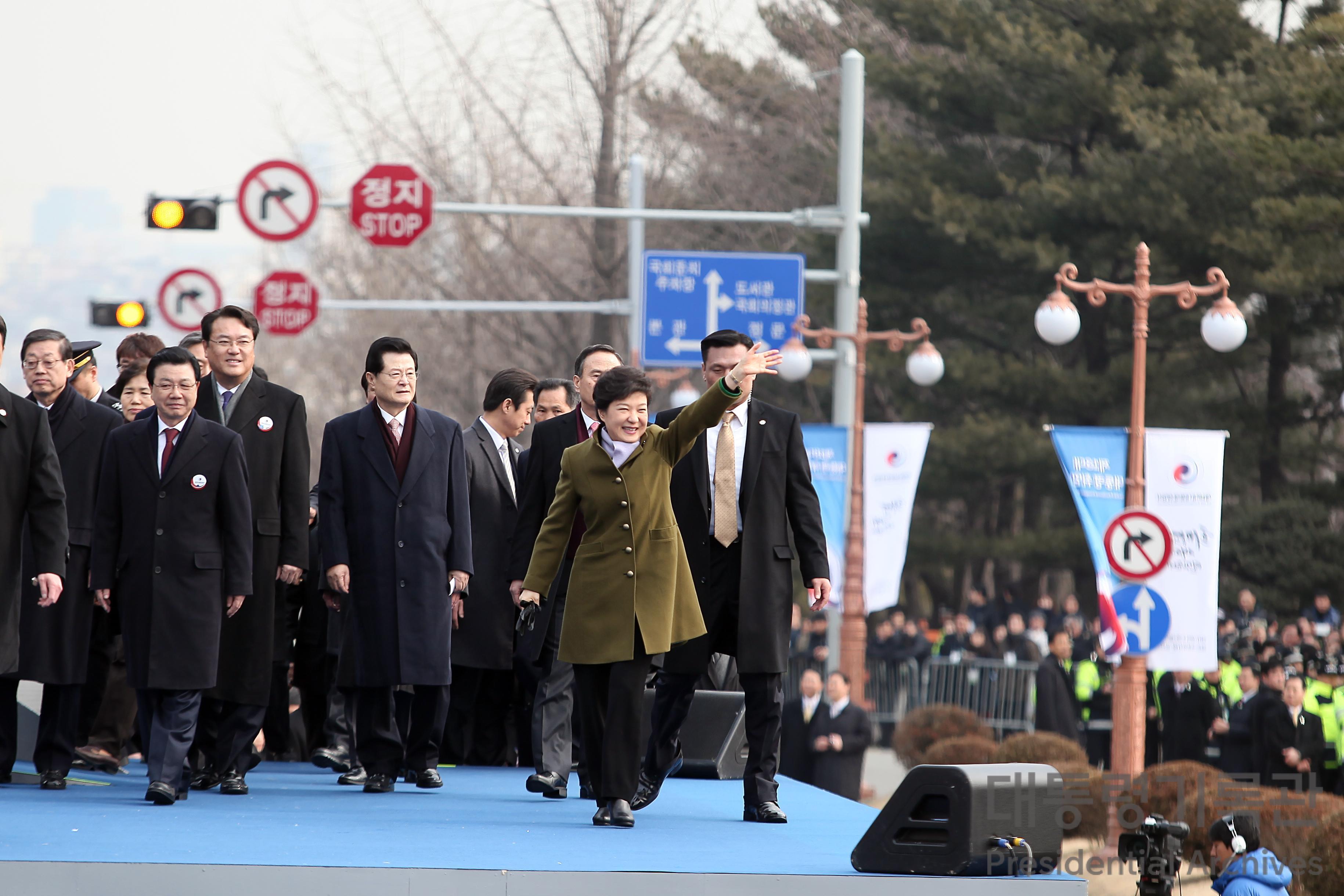제18대 박근혜 대통령 취임식 후 행진 사진