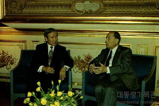 노태우 대통령 미테랑 프랑스 대통령 정상회담 사진