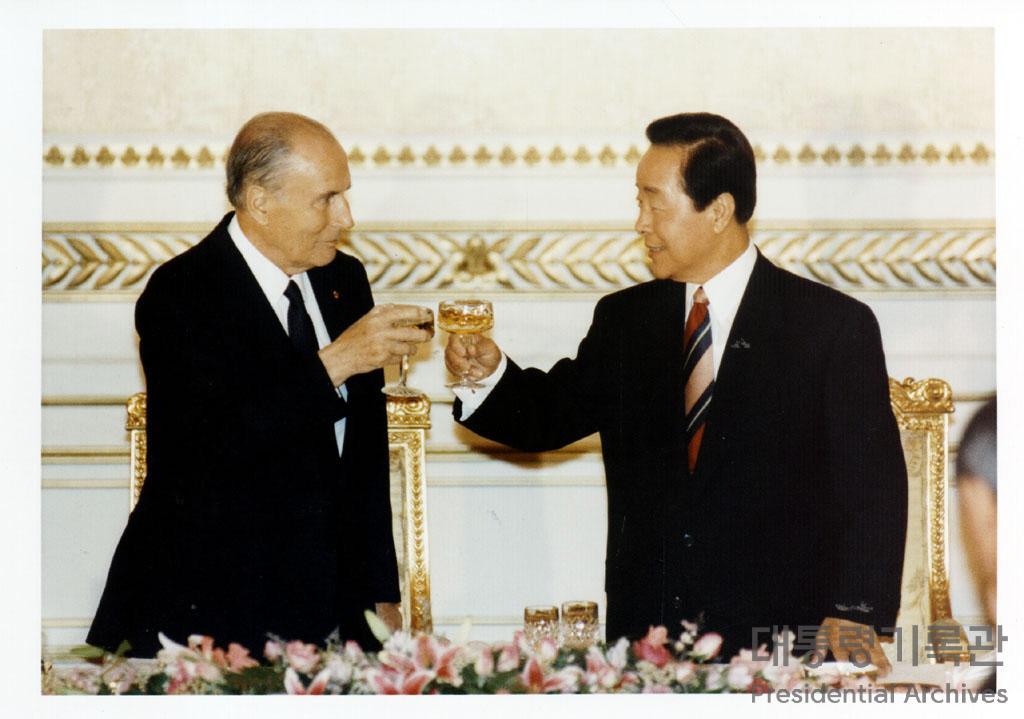 김영삼 대통령 미테랑 프랑스 대통령과 정상회담 사진
